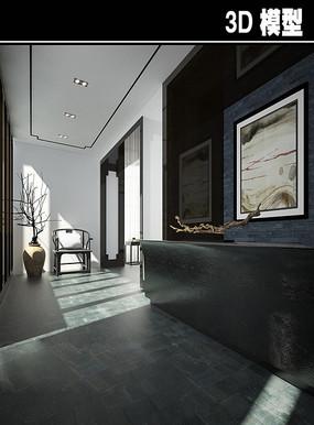 现代黑色大气茶馆前台模型