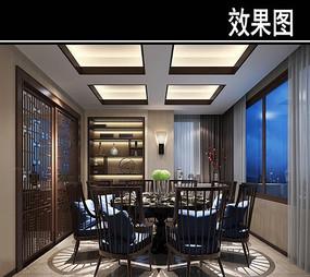 现代中式简约茶餐厅包厢效果图