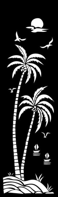 椰子树雕刻图案