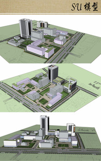 医院新建病房楼su模型