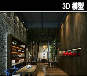 原木中式茶馆模型