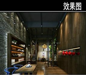 原木中式茶馆效果图