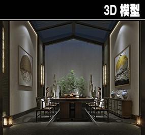 原木中式风茶馆模型