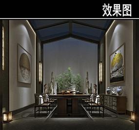 原木中式风茶馆效果图