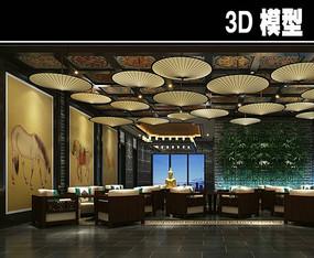 纸伞元素茶馆大厅模型