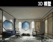 中国壁画淡雅中式茶馆模型