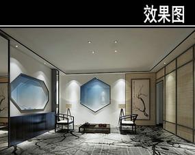 中国壁画淡雅中式茶馆效果图