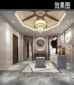 中国风茶馆门厅效果图