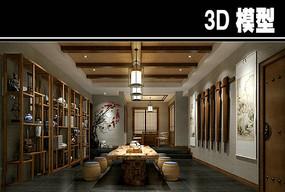 中国风茶馆模型