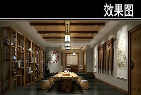 中国风茶馆效果图