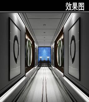 中国风黑白茶楼走廊效果图