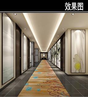 中国荷花画元素茶馆走廊效果图