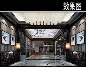 中国画元素茶馆等待区效果图