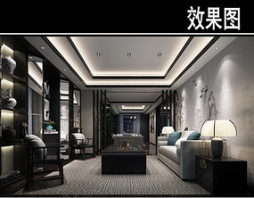 中式壁画风办公室品茶区效果图