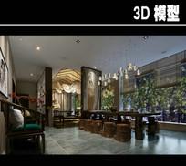 中式壁纸茶馆模型