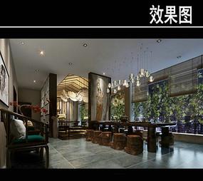 中式壁纸茶馆效果图