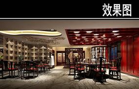 中式茶餐厅包厢效果图