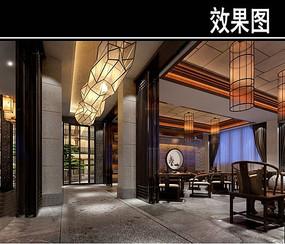 中式茶餐厅大包厢效果图