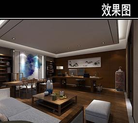 中式茶馆办公室效果图 JPG