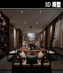 中式茶馆包厢带电影放映模型
