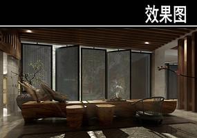 中式茶馆包厢效果图