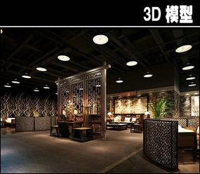 中式茶馆餐厅模型