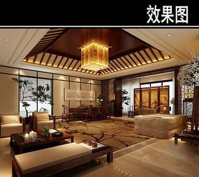 中式茶馆大厅效果图