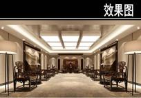 中式茶馆会议室效果图