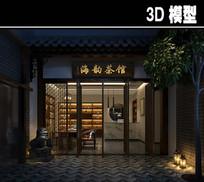 中式茶馆门头模型