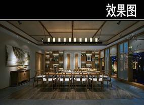 中式茶馆十人座包厢效果图