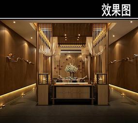 中式茶馆四周镂空效果图