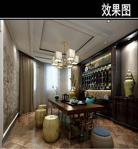中式茶馆小包厢效果图 JPG