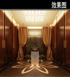 中式茶楼莲花元素洗手台效果图