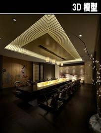 中式长桌茶楼包厢模型