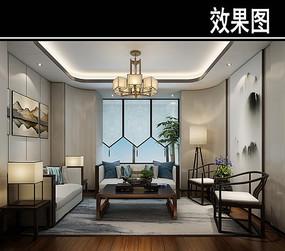 中式淡雅茶馆包厢效果图