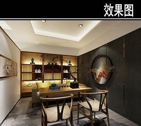 中式风茶馆小包厢效果图 JPG