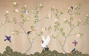 中式风格花鸟画背景墙