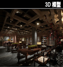 中式红砖茶楼大堂模型