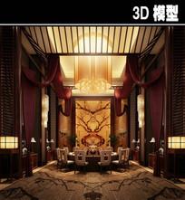 中式奢华风茶馆包厢模型