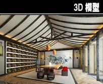 中式屋顶茶馆模型