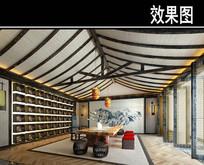 中式屋顶茶馆效果图