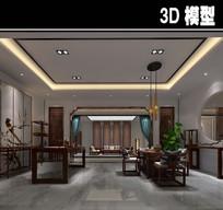 中式现代茶馆办公室模型