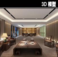 中式现代茶馆办公室品茶区一体