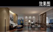 中式现代茶馆办公室效果图 JPG