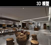 中式现代茶馆会客区模型
