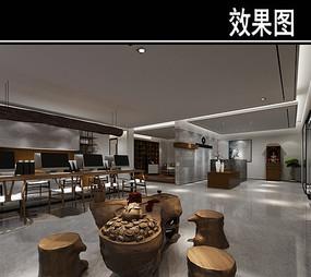 中式现代茶馆会客区效果图 JPG