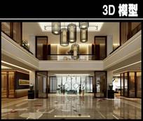 中式现代茶楼两层模型