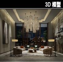 中式现代风茶馆模型
