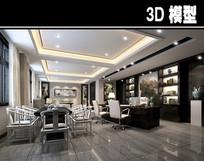 中式现代混搭办公室品茶区模型