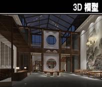 中式中国画元素双层茶楼模型